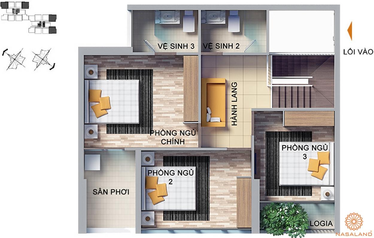 thiết kế căn hộ 4 phòng ngủ tại dragon hill