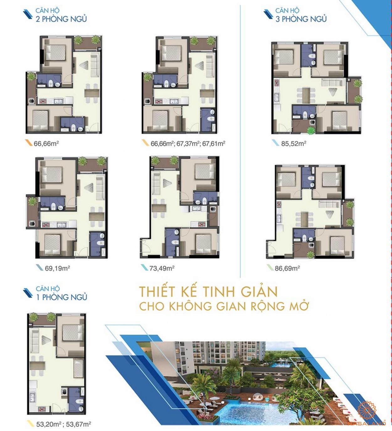 Thiết kế căn hộ 1PN, 2PN, 3PN tại dự án