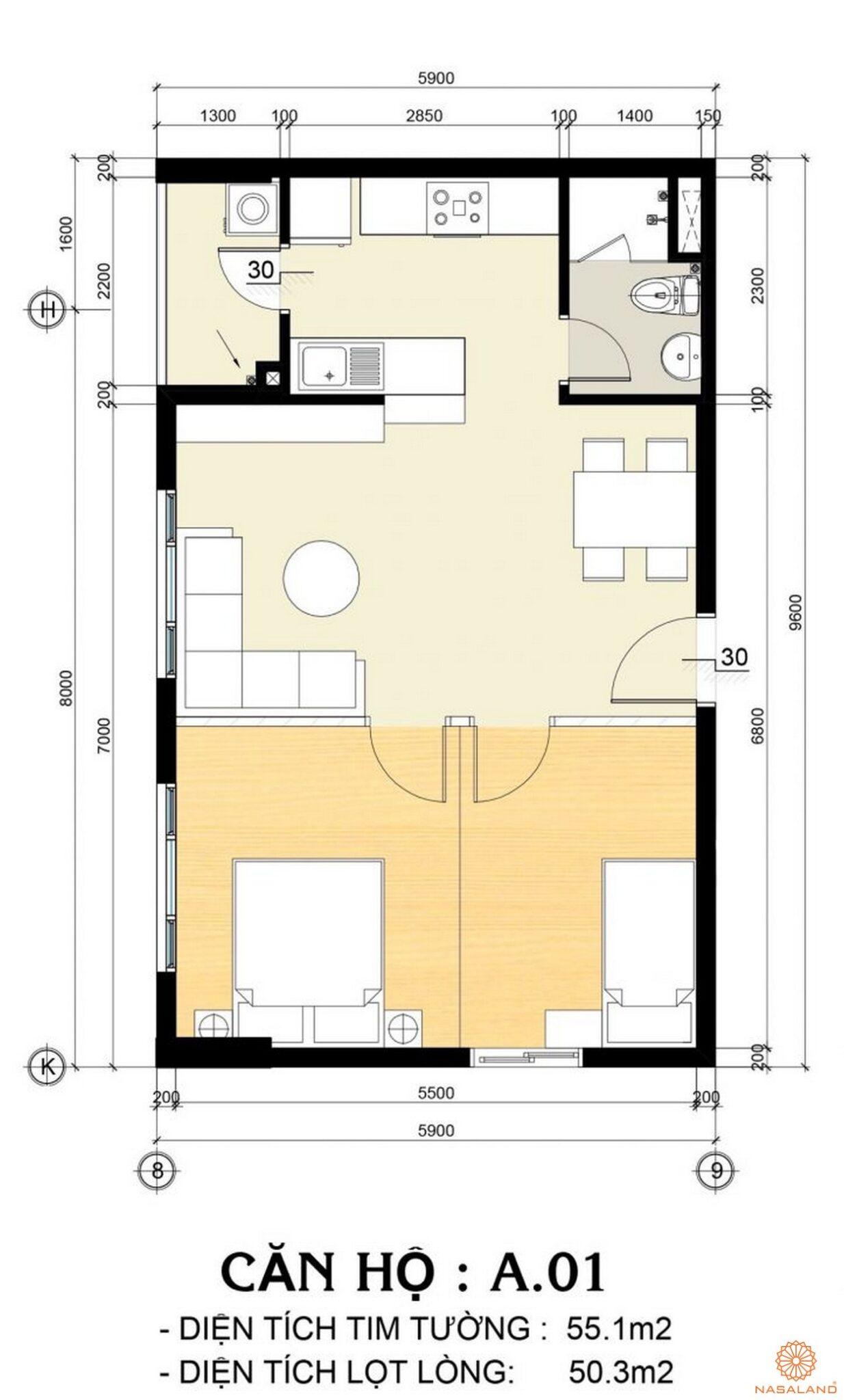 Mặt bằng mẫu căn hộ 1PN tại dự án