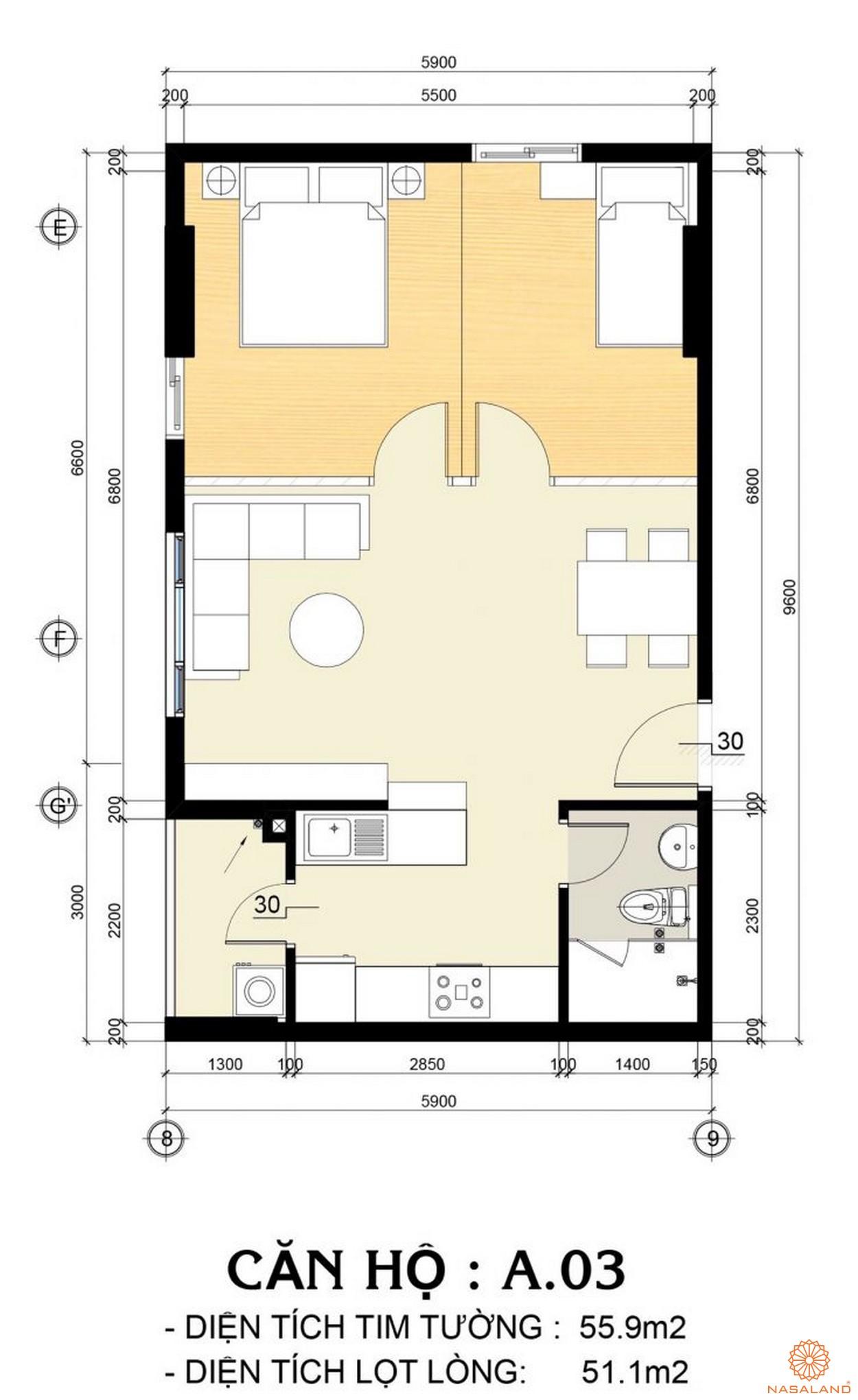 Mặt bằng mẫu căn hộ A.03 tại dự án