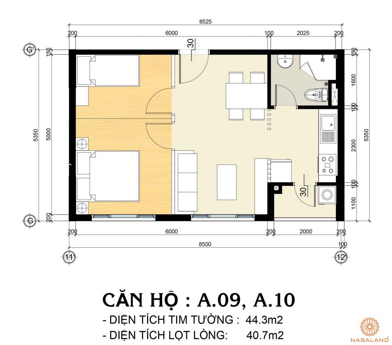 Mặt bằng căn hộ A.09 và A.10