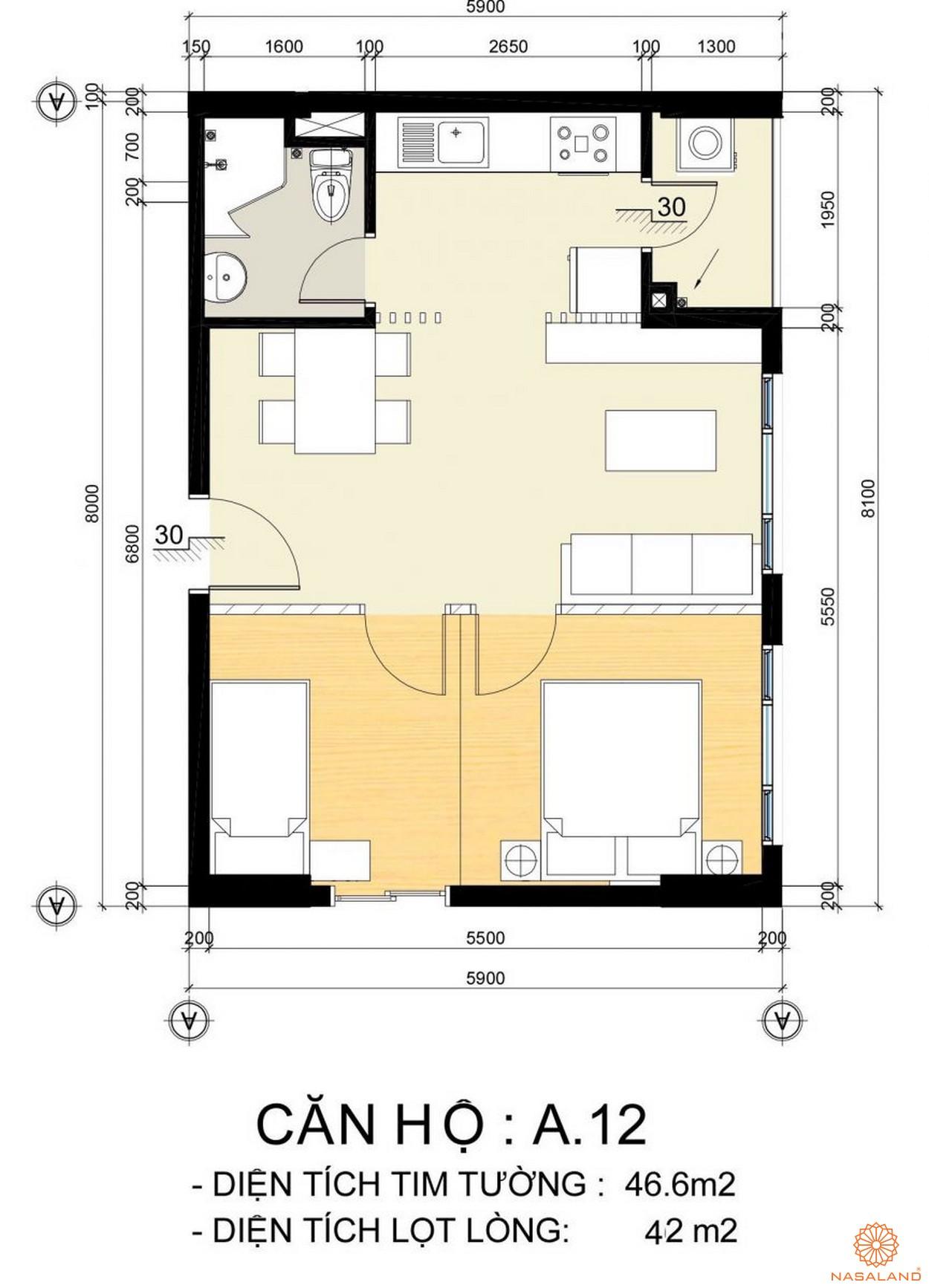 Mặt bằng căn hộ A.12