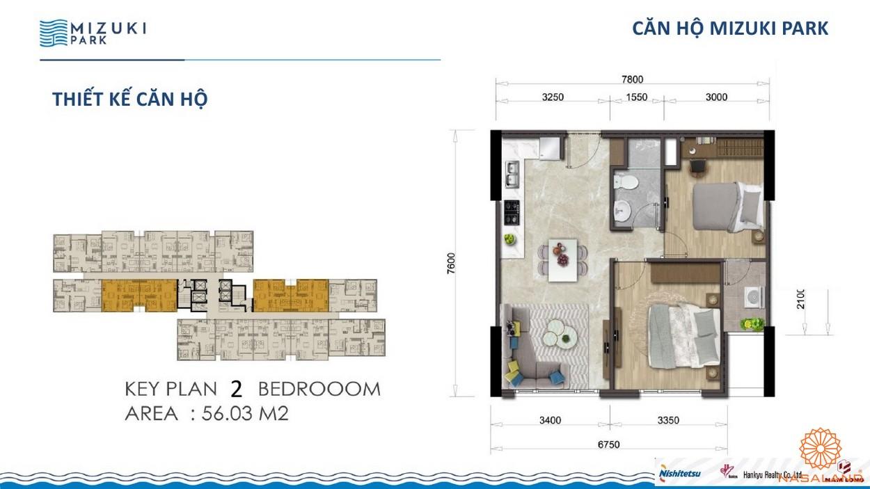 Thiết kế dự án căn hộ Mizuki Park Bình Chánh 2PN 56m