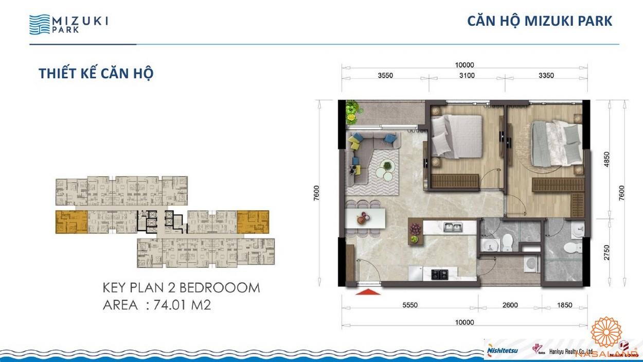 Thiết kế dự án căn hộ Mizuki Park Bình Chánh 2PN 74m