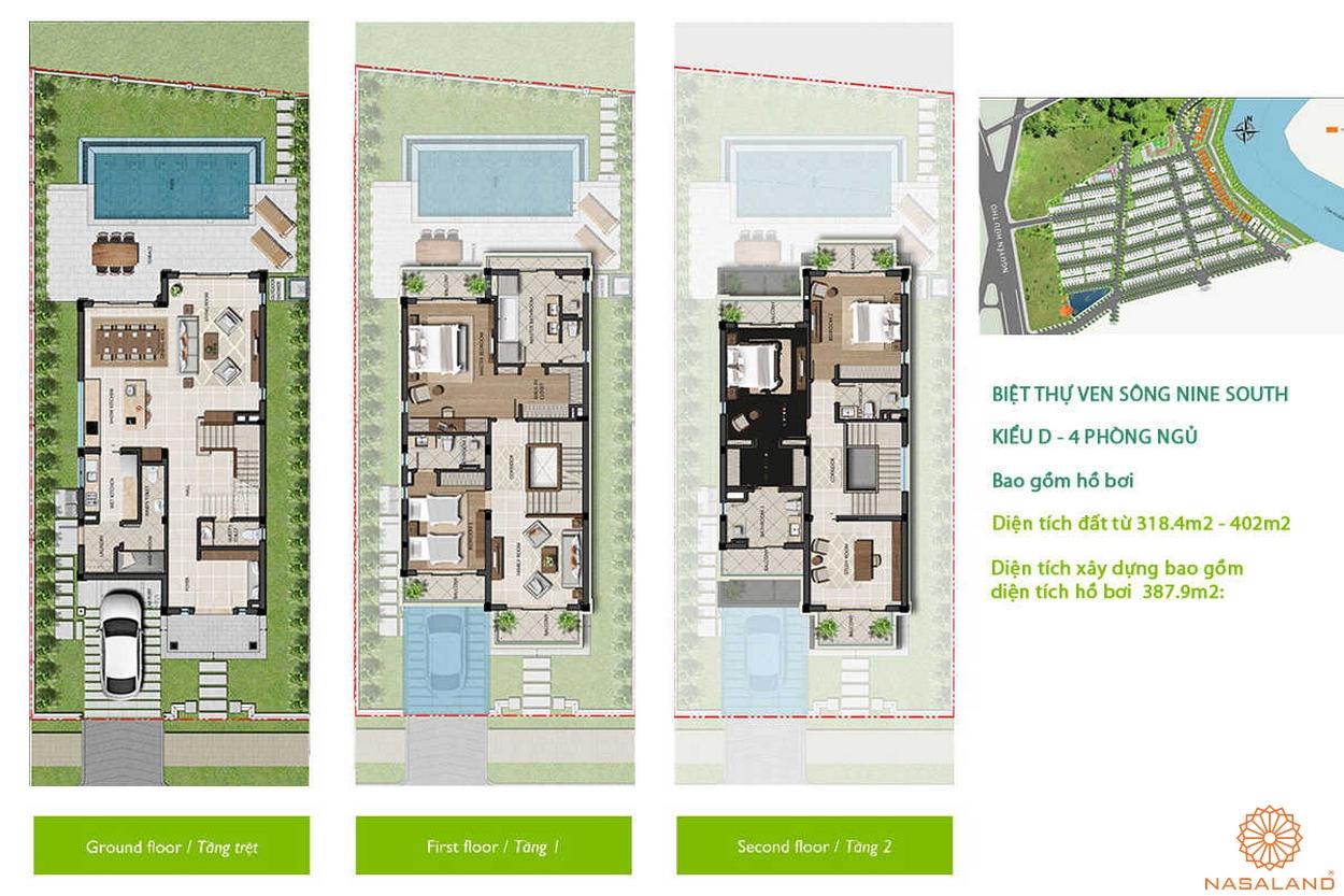 Nine South Estates Nhà Bè thiết kế biệt thự kiểu D