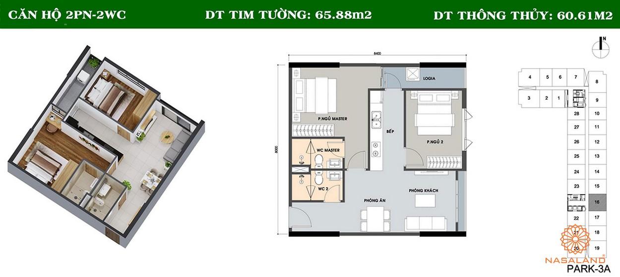 Thiết kế căn hộ 2PN và 2WC tại căn hộ Picity High Park
