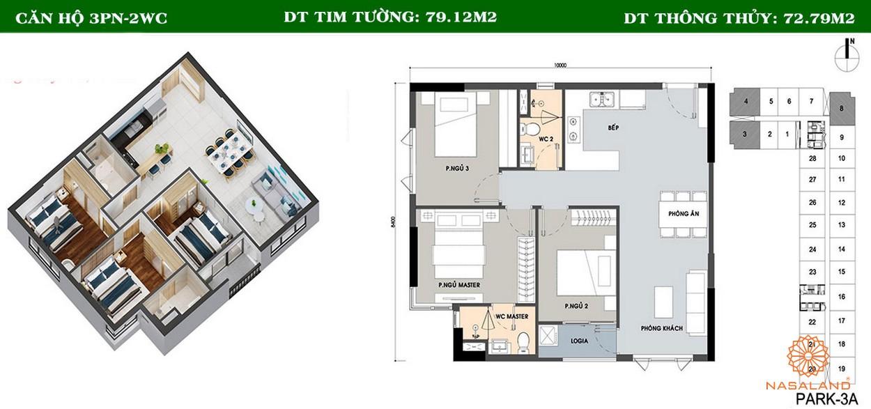 Thiết kế căn hộ 3PN và 2WC tại dự án Picity High Park quận 12