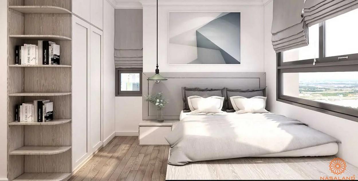 Thiết kế phòng ngủ rộng rãi cùng lót sàn bằng gỗ sang trọng tại dự án The Pegasuite 3 quận 7