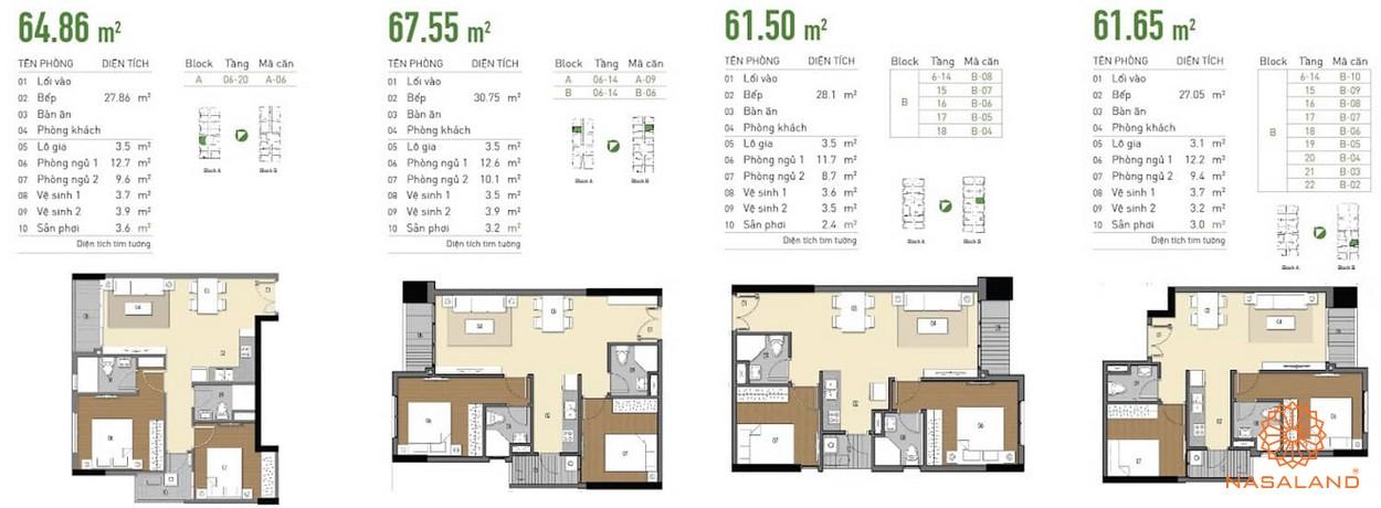 Diện tích các loại phòng ngủ tại dự án - thiết kế căn hộ tại dự án