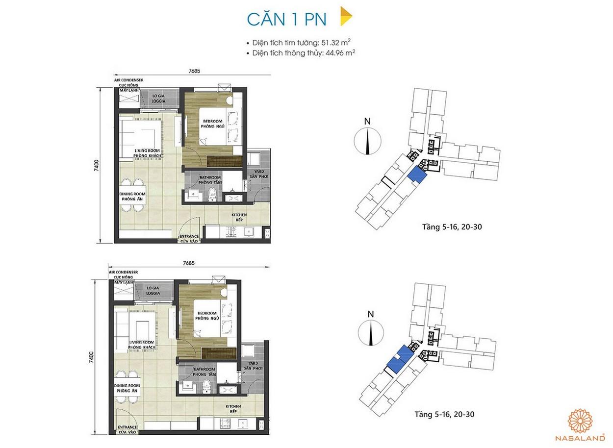 Thiết kế căn hộ 1PN tại dự án D Homme