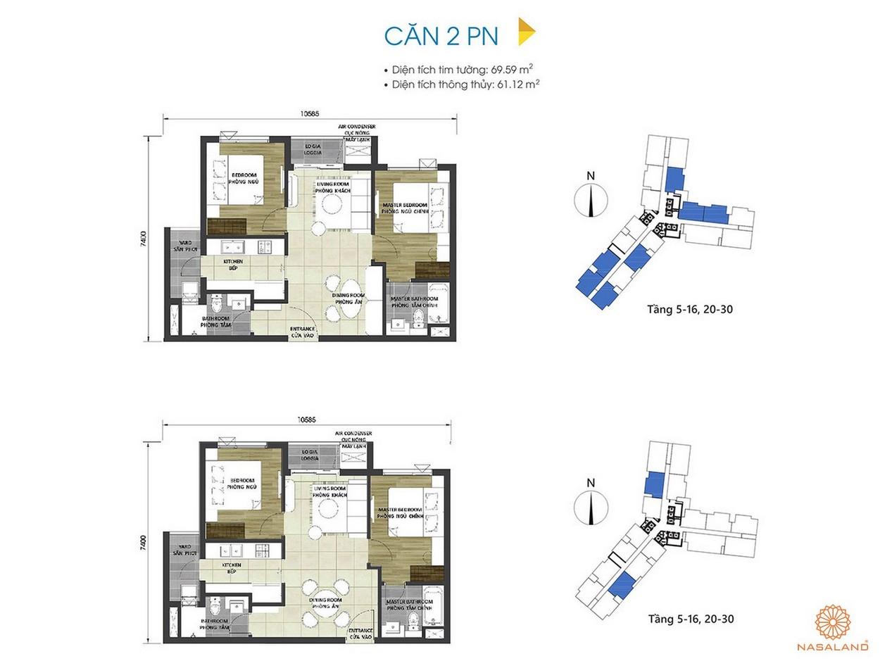 Thiết kế căn hộ 2PN tại dự án D Homme
