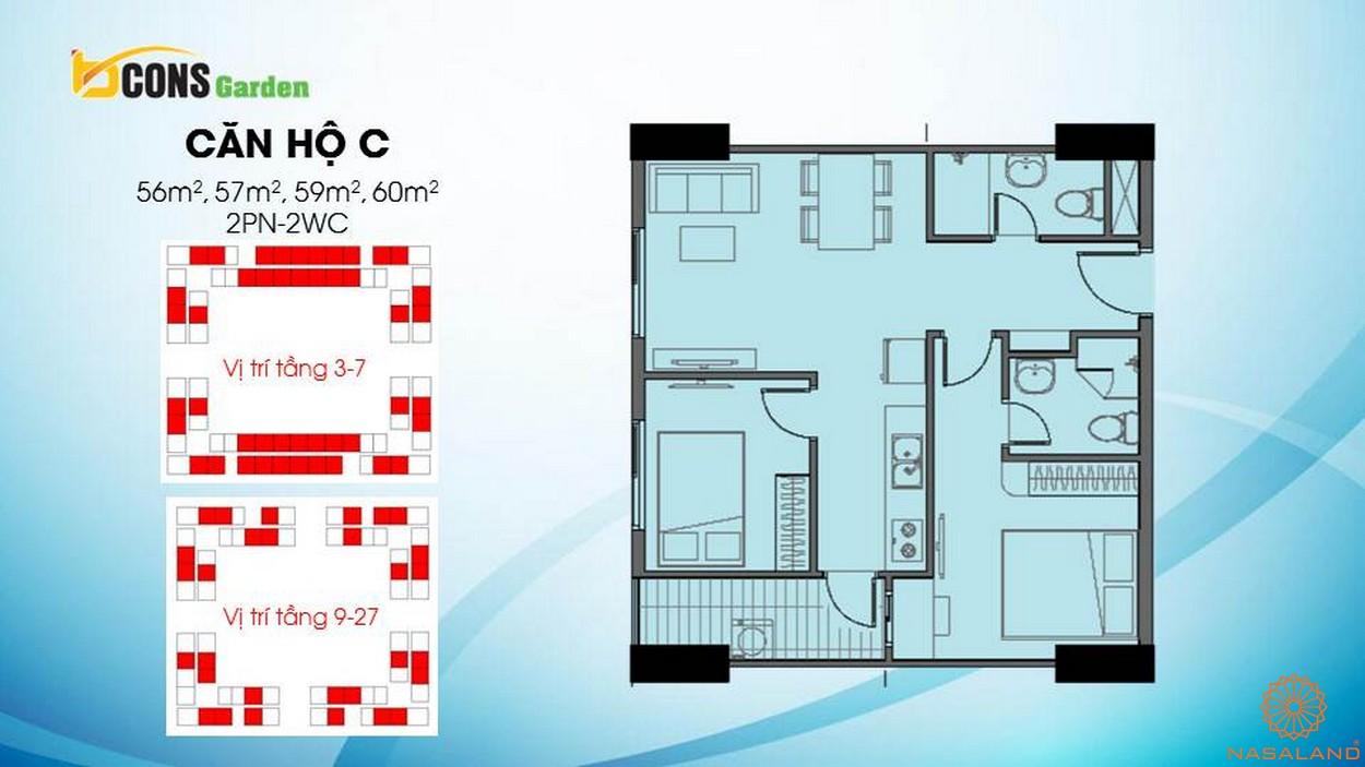 Thiết kế căn hộ chung cư Bcons Garden Bình Dương c