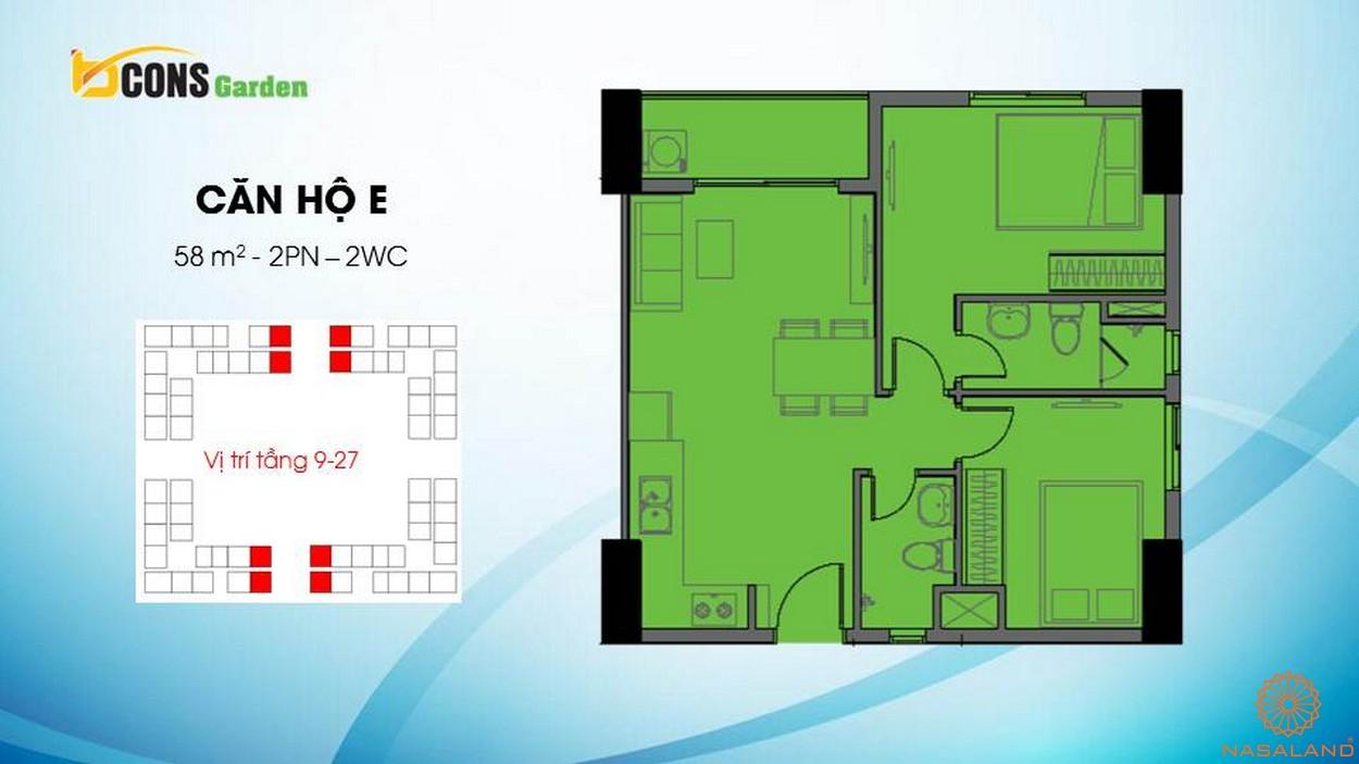 Thiết kế căn hộ chung cư Bcons Garden Bình Dương e