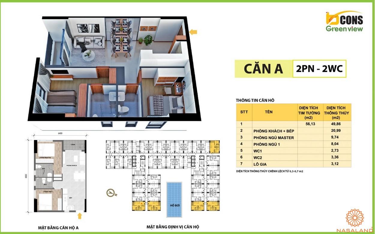Thiết kế căn hộ A của dự án căn hộ Bcons Green View