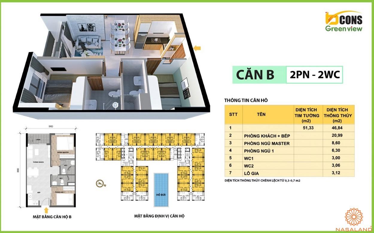 Thiết kế căn hộ B của dự án căn hộ Bcons Green View