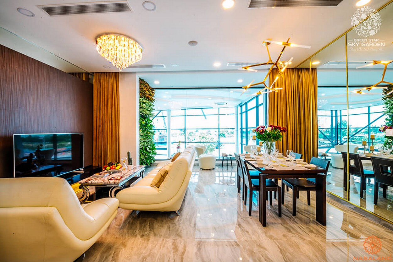 Thiết kế phòng khách dự án căn hộ Green Star Sky Garden Quận 7