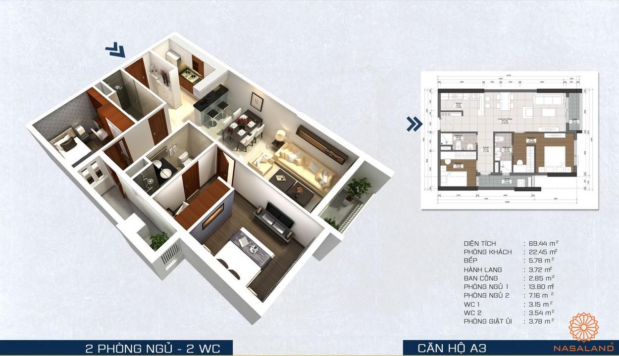 Thiết kế căn 2PN dự án căn hộ The Pegasuite quận 8