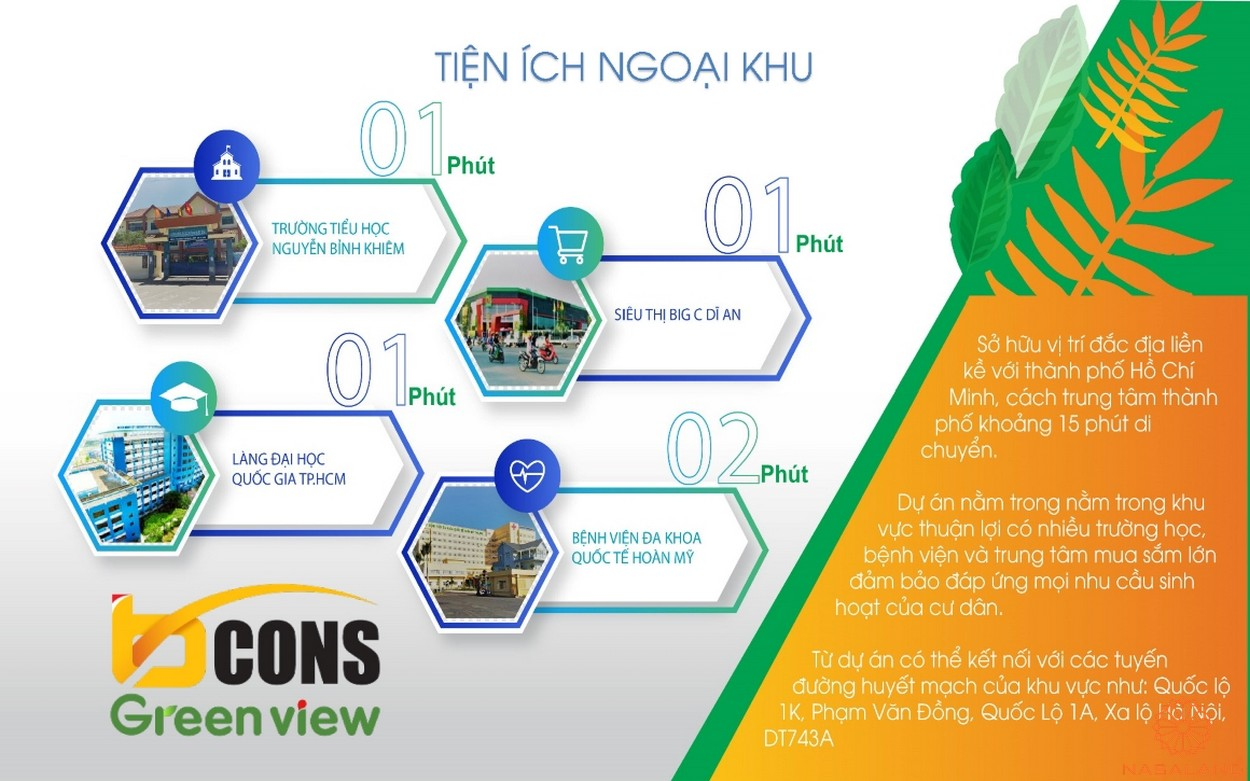 Tiện ích ngoại khu của dự án căn hộ Bcons Green View