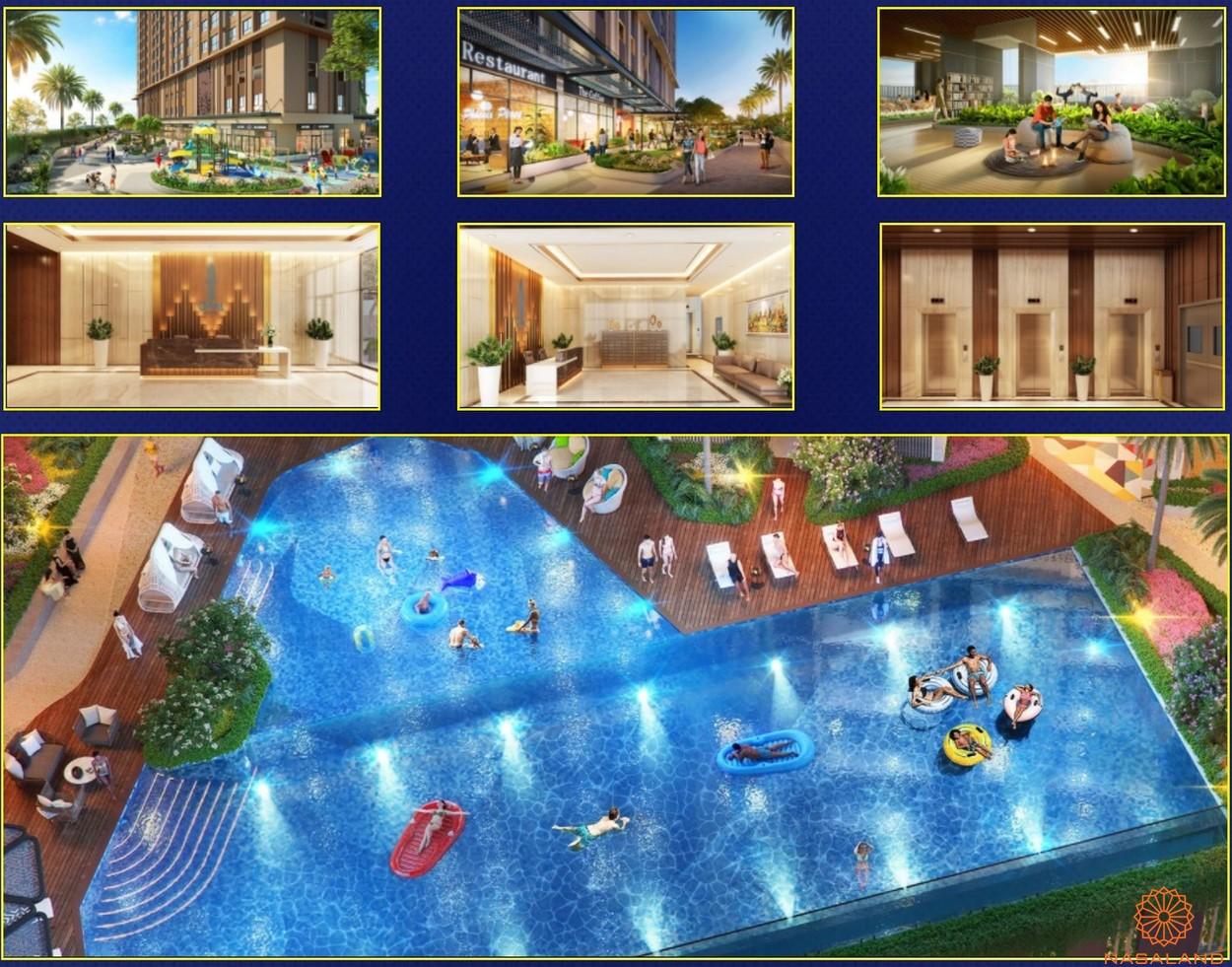 Tiện ích bể bơi trẻ em nội khu dự án căn hộ Opal Skyline