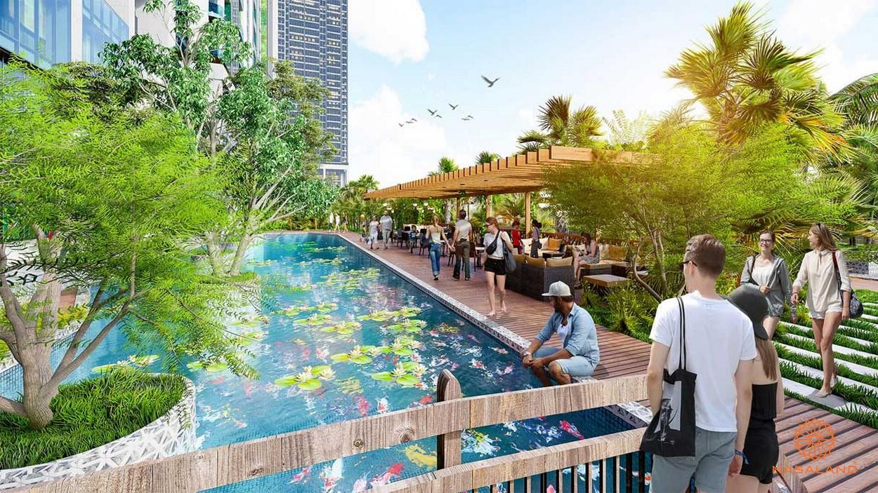 hồ cảnh quan được thiết kế theo phong cách Nhật Bản dự án Sunshine Continental quận 10