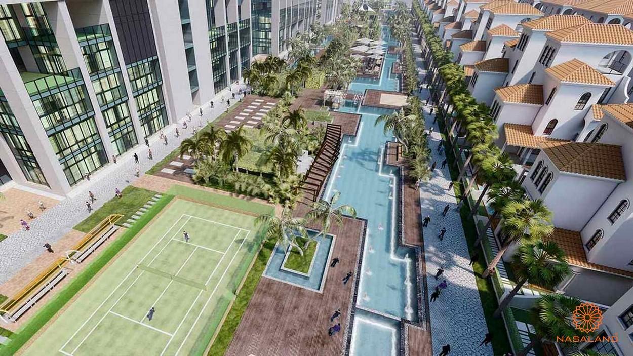 Khu phức hợp gòm sân tennis và hồ cảnh quan