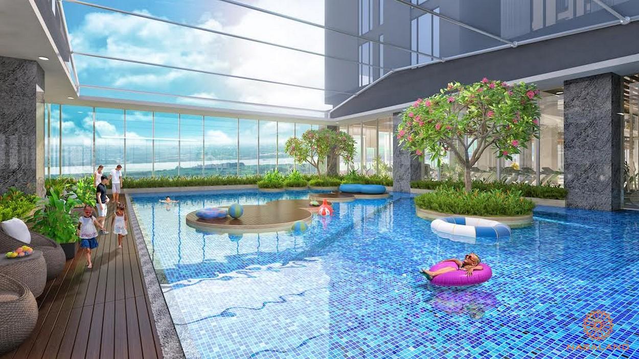 Hồ bơi tràn viền cùng view sang chảnh ra ven sông - tiện ích nội khu tại dự án