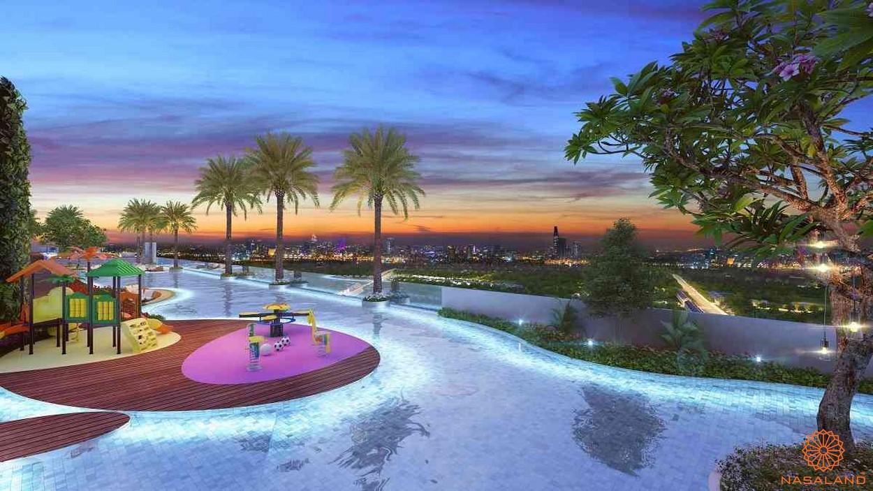 Hồ bơi tràn viền cùng khu vui chơi trẻ em - tiện ích căn hộ Smartel Signial