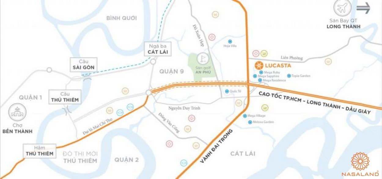Vị trí địa lý đắc địa tại dự án biệt thự Lucasta quận 9