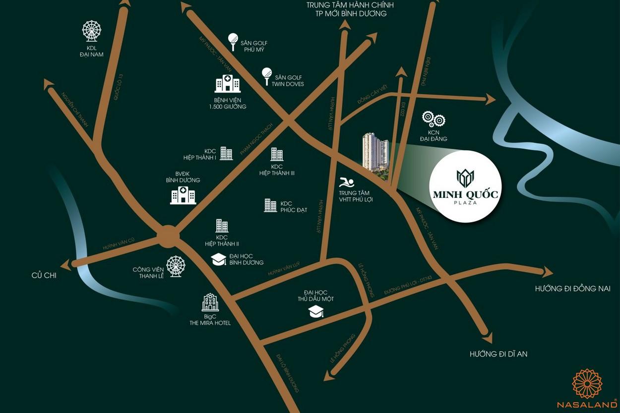 Vị trí dự án căn hộ chung cư Minh Quốc Plaza Bình Dương