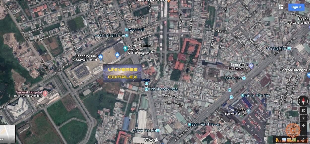 Vị trí dự án căn hộ Universe Complex Bình Tân