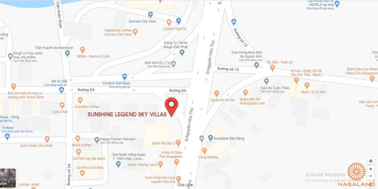 Vị trí dự án căn hộ Sunshine Legend Sky Villas quận 7