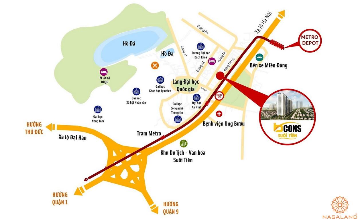 Vị trí dự án căn hộ Bcons Suối Tiên