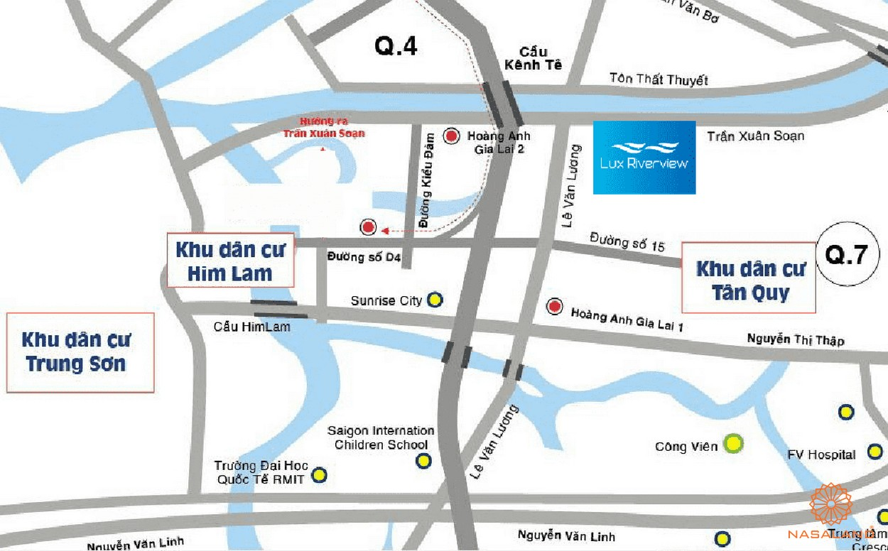 vị trí dự án căn hộ Lux Riverview quận 7
