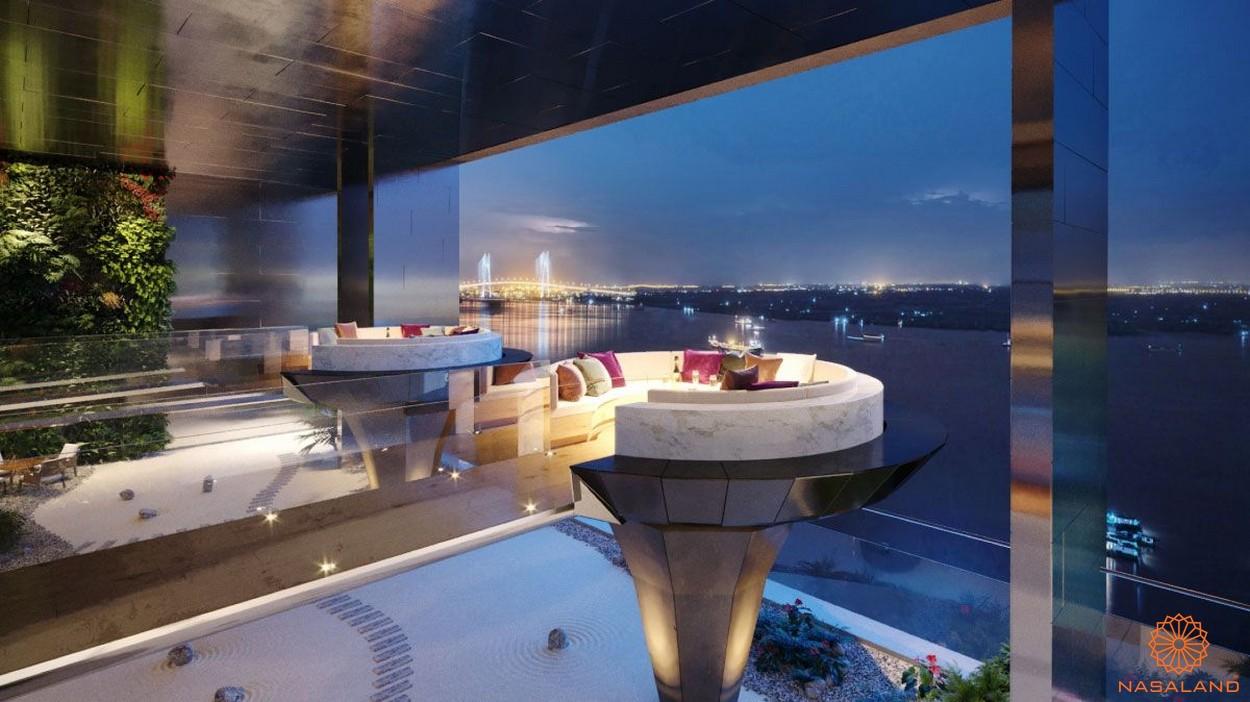 Khu vực Lounge sang trọng cùng view toàn sông Sài Gòn - tiện ích căn hộ Smartel Signial