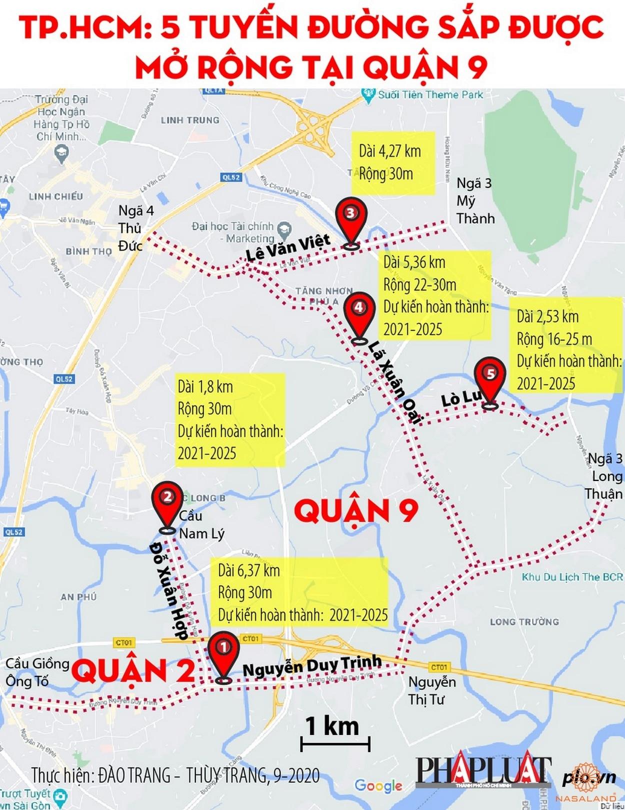 Bản đồ 5 tuyến đường sắp được mở rộng tại quận 9 (Nguồn: Internet)