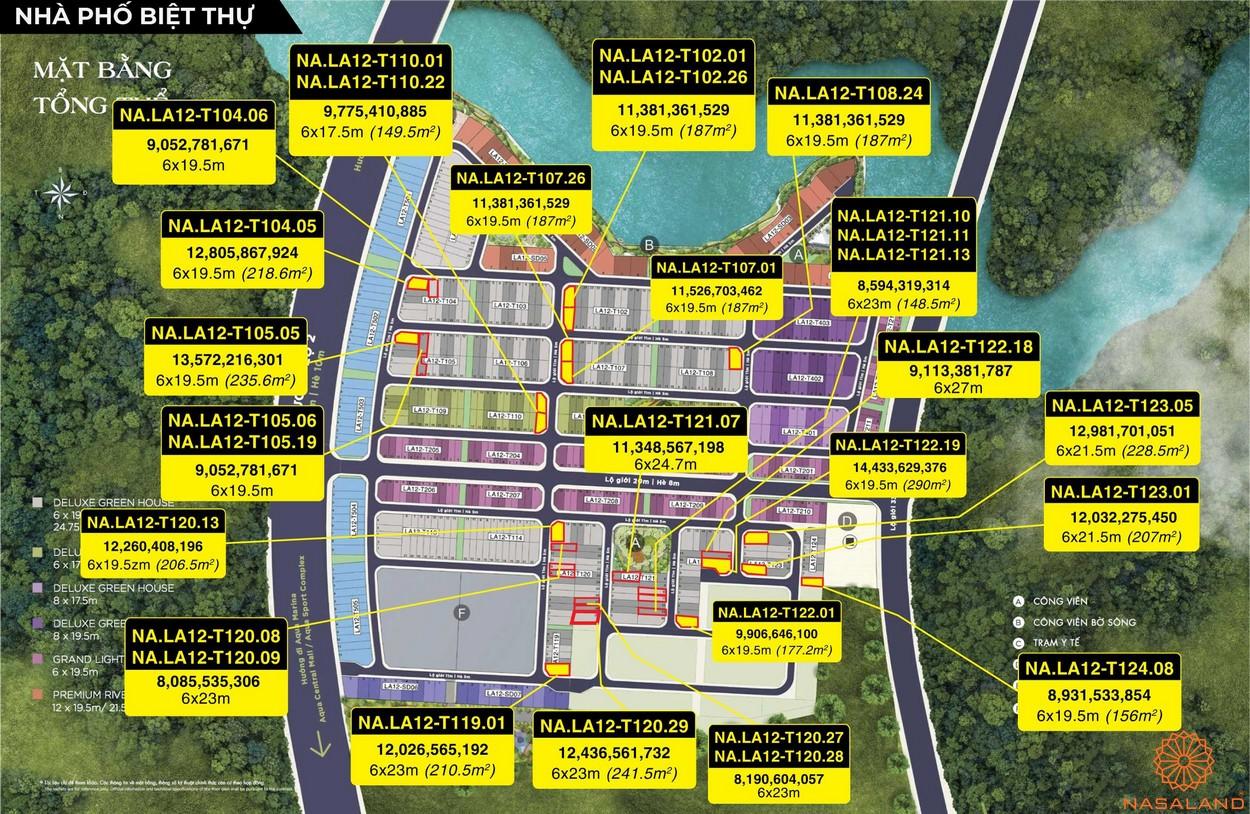 Mặt bằng dự án Aqua City Đảo Phượng Hoàng - nhà phố biệt thự