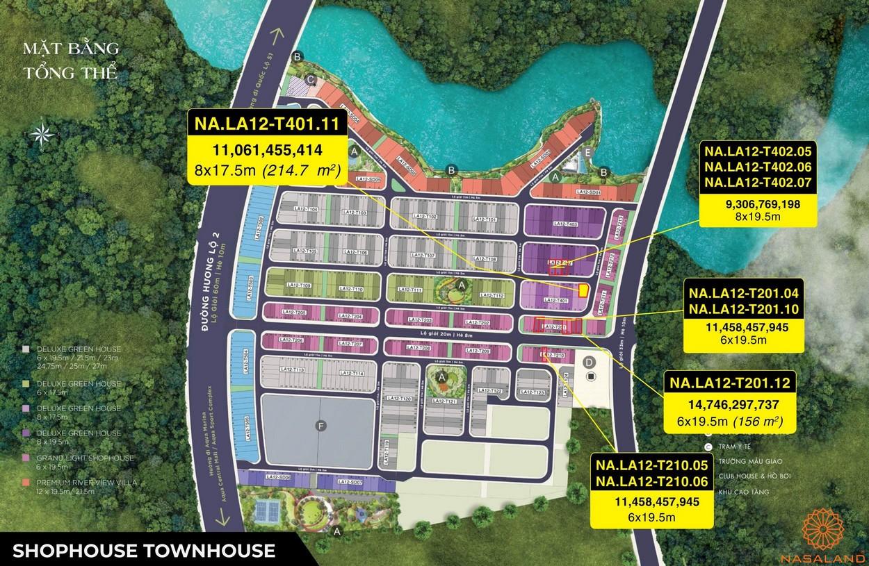 Mặt bằng dự án Aqua City Đảo Phượng Hoàng - Shophouse Townhouse