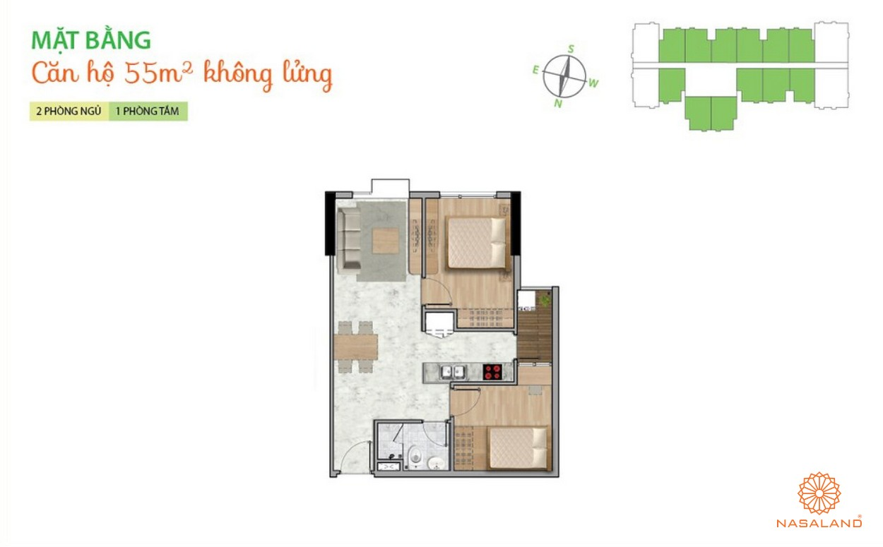 Mặt bằng dự án căn hộ La Astoria quận 2 - 2PN