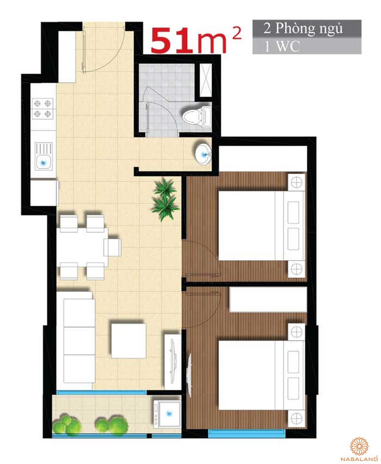 Thiết kế căn hộ An Gia Star 51m2