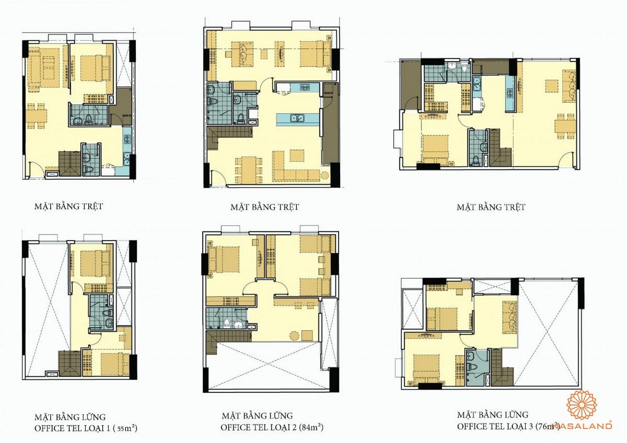 Mặt bằng các căn Officetel La3 dự án căn hộ La Astoria quận 2