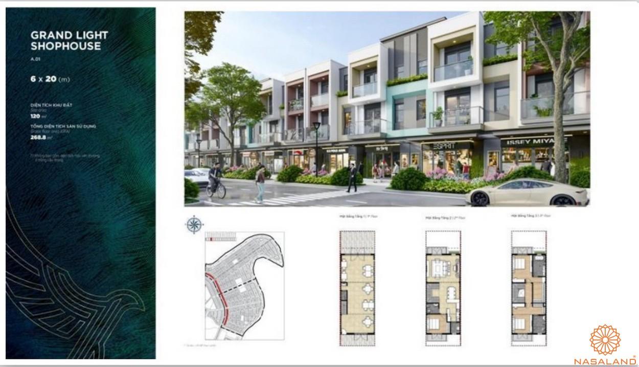 Mặt bằng dự án biệt thự Aqua City Đảo Phượng Hoàng Đồng Nai - shophouse grand light