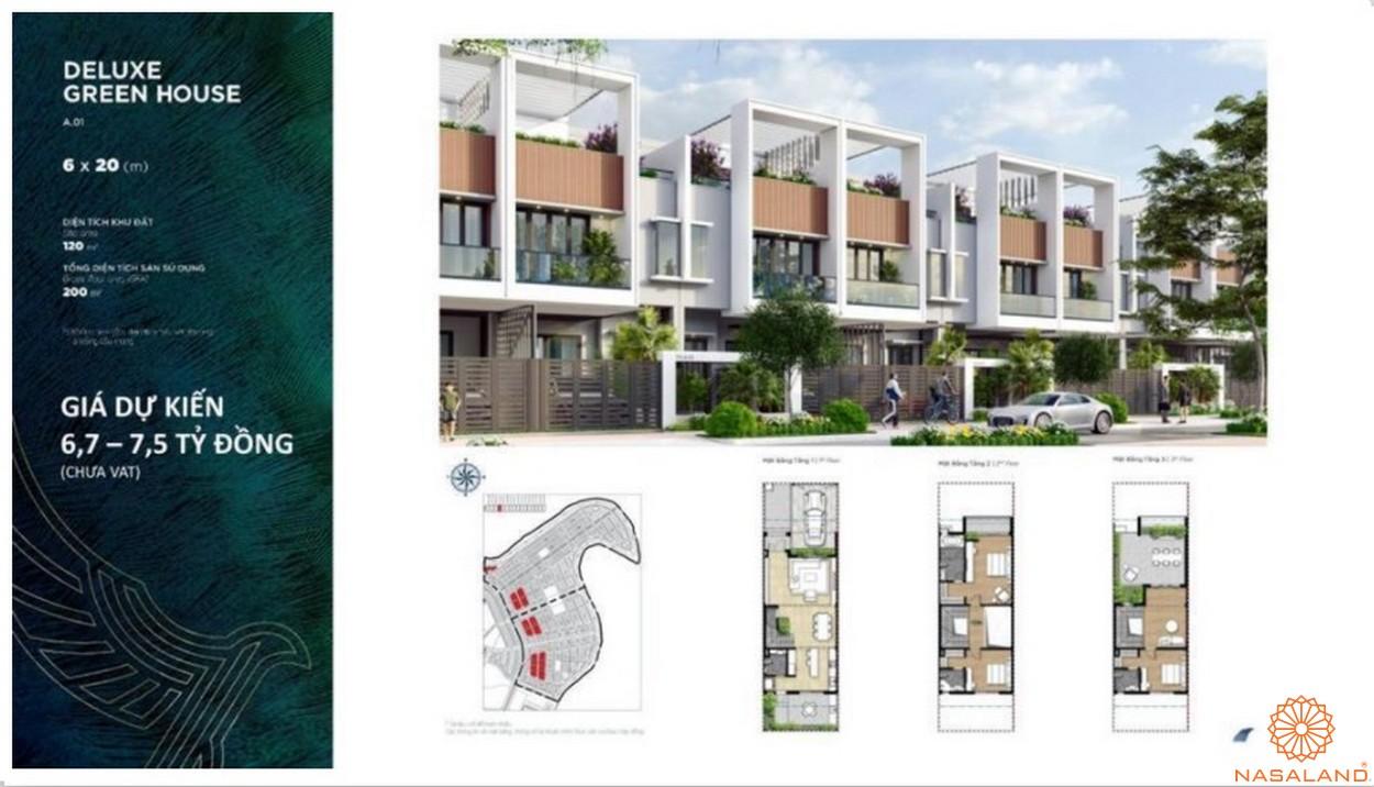 Mặt bằng dự án biệt thự Aqua City Đảo Phượng Hoàng Đồng Nai - shophouse green house