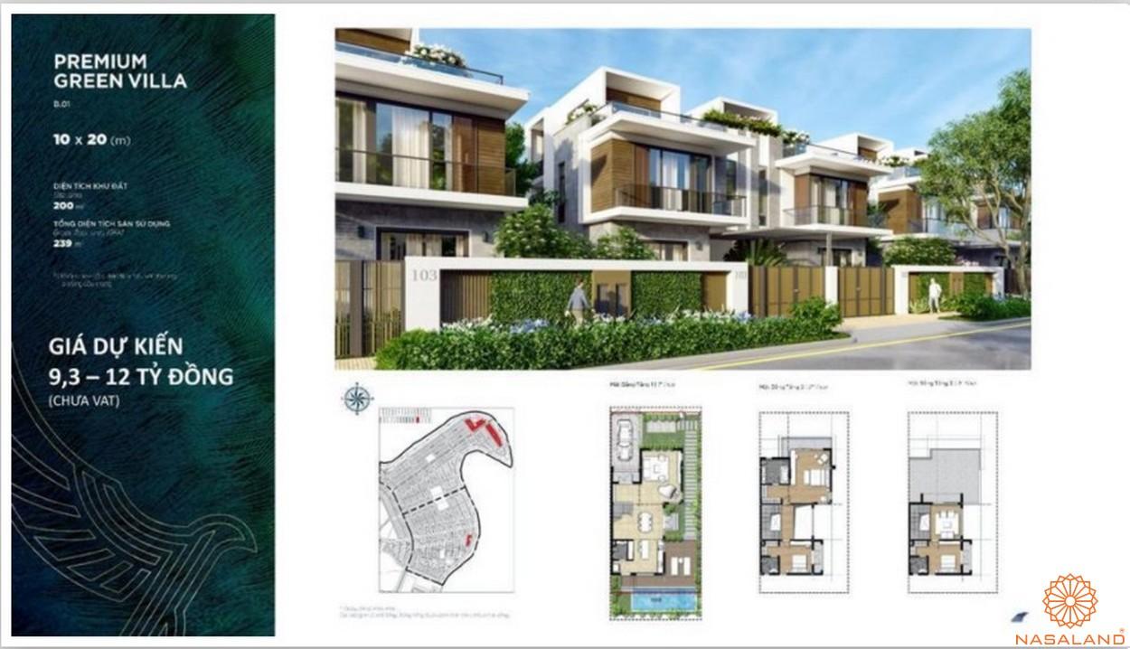 Mặt bằng dự án biệt thự Aqua City Đảo Phượng Hoàng Đồng Nai - green villa