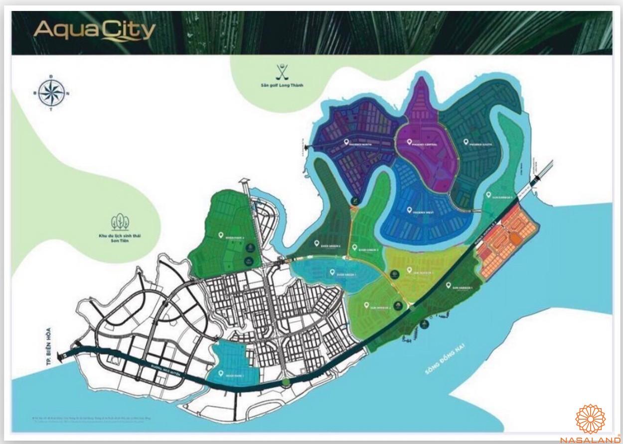 Mặt bằng tổng thể dự án biệt thự Aqua City Đảo Phượng Hoàng Đồng Nai