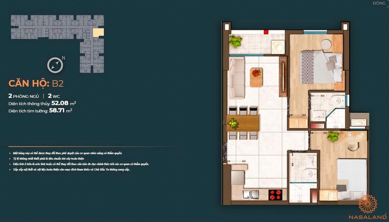 Mặt bằng dự án căn hộ Happy One Central Bình Dương - căn B2