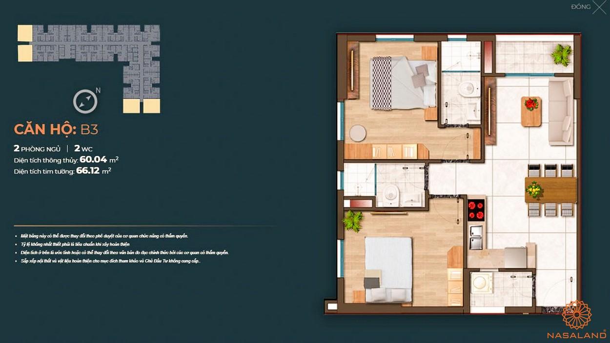 Mặt bằng dự án căn hộ Happy One Central Bình Dương - căn B3