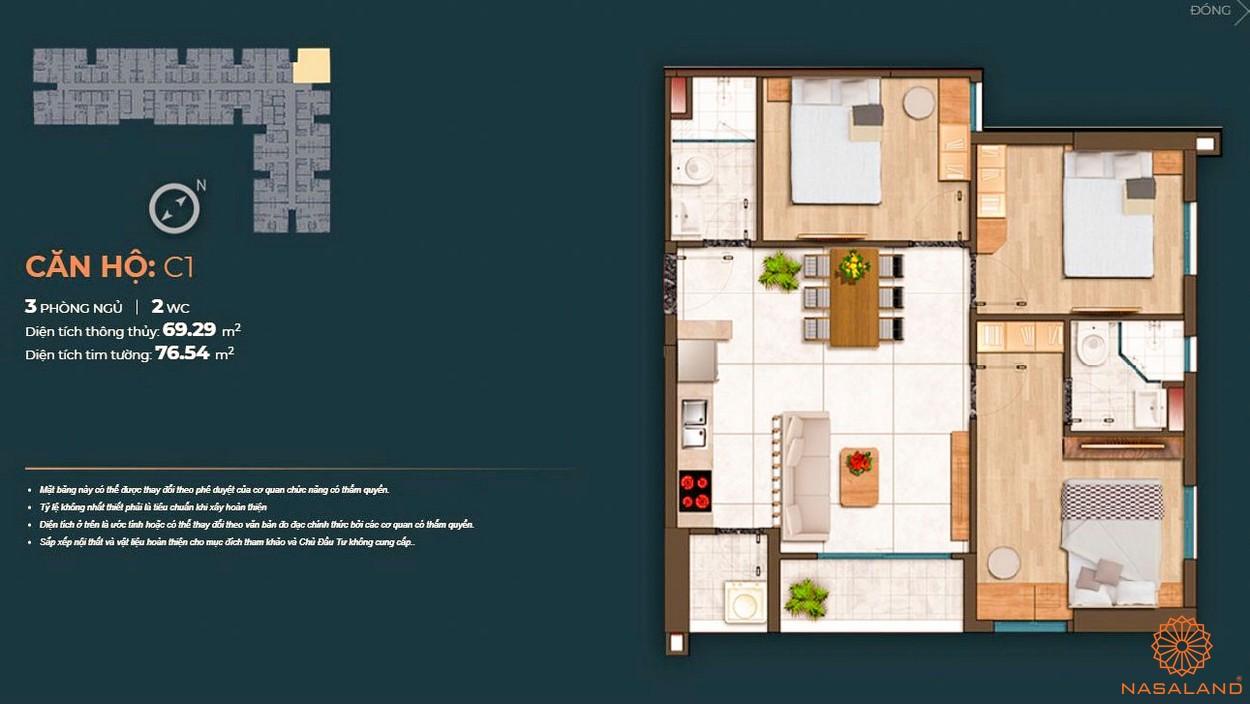 Mặt bằng dự án căn hộ Happy One Central Bình Dương - căn C1