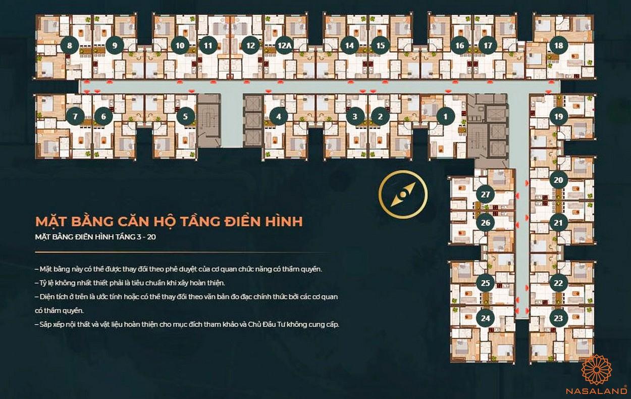 Mặt bằng dự án căn hộ Happy One Central Bình Dương - tầng điển hình