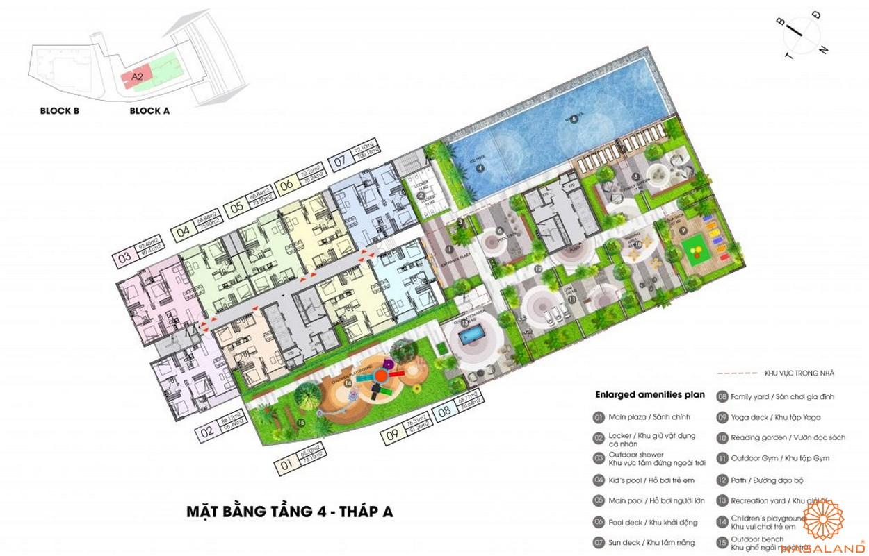 Mặt bằng dự án căn hộ Opal Boulevard Bình Dương - tầng 4 block A