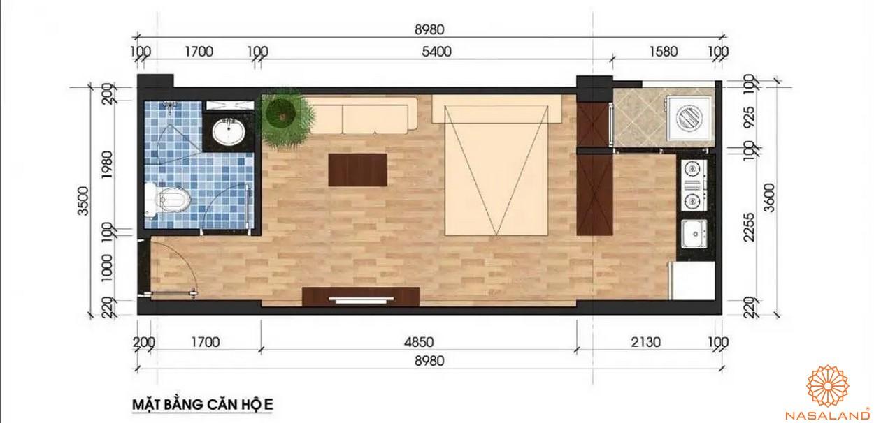 Mặt bằng dự án căn hộ Unico Thăng Long - căn hộ mẫu E